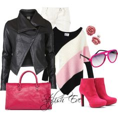 """Pink & Leather"" by stylisheve on Polyvore"