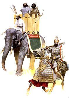 Persian War Elephant and Cataphract