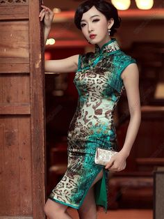 Women's Silk Knee-length Sleeveless leopard-print Cheongsam Dress - USD $ 218.00