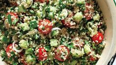 """Tabbouleh with Quinoa. The classic Middle Eastern salad gets an of-the-moment upgrade with the """"it"""" grain, quinoa. Healthy Recipes, Salad Recipes, Vegetarian Recipes, Cooking Recipes, Cucumber Recipes, Healthy Salads, Vegetable Recipes, Quinoa Tabouleh, Quinoa Salat"""
