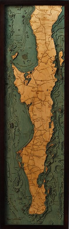 Baja California Peninsula Laser cut, hand crafted, heirloom quality 3D map