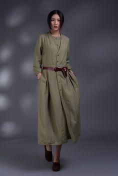 comfortable linen Long sleeve sundressmore door FashionColours