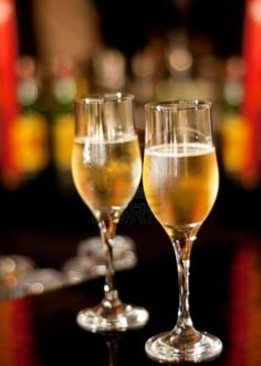 Glasses with champagne standing on the bar Stock Photo