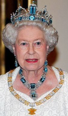 Queen Elizabeth II wearing the Brazilian Aquamarine Tiara