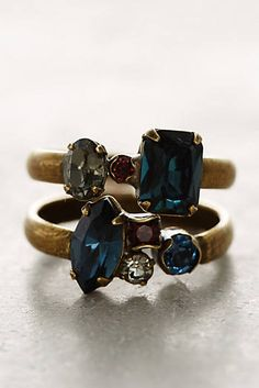 Wrapped Crystal Ring Set