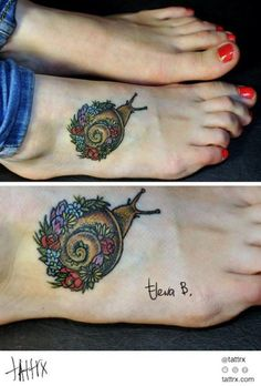 Lovely and delicate snail and flowers tattoo by Elena Belyaykina, Russia.