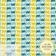 Stoffe gemustert - Birch Stoff Elefant Frolic Ellie Stagger Boy Bio - ein…