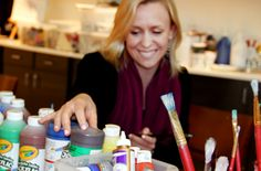 Creative arts therapist Melissa Walker has a wealth of supplies to troops can complete Healing Arts Program projects.