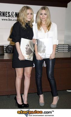 Mary Kate and Ashley Olsen leather leggings and white top