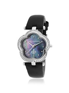 Ted Lapidus Women's A0554RNPNSM Black/Mother of Pearl Leather Watch