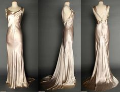 SILVER SATIN EVENING GOWN, 1930s