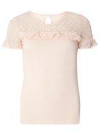Womens Petite Blush Spot Mesh Top- Pink