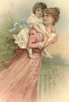 Edwardian mother and toddler circa 1905