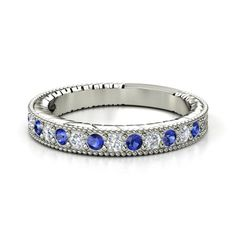 This looks just like my wedding band!  18K White Gold Ring with Sapphire & Diamond | Victoria Band | Gemvara