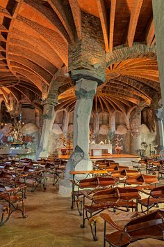 David Cardelús photographs Gaudi crypt near Barcelona. One of the buildings that form the Colonia Güell, is considered by many as a singular workshop where Gaudi practiced solutions that were later applied to the hugely famous Sagrada Familia. Beautiful Architecture, Art And Architecture, Architecture Details, Dubai Architecture, Unique Buildings, Amazing Buildings, Antonio Gaudi, Modernisme, Architectural Photographers