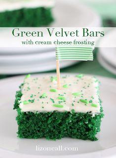 Green Velvet Bars 1 patricks day desserts Green Velvet Cake with Cream Cheese Frosting Holiday Desserts, Holiday Treats, Green Desserts, Green Velvet Cake, Green Cake, Cake Recipes, Dessert Recipes, Baking Desserts, St Patricks Day Cakes