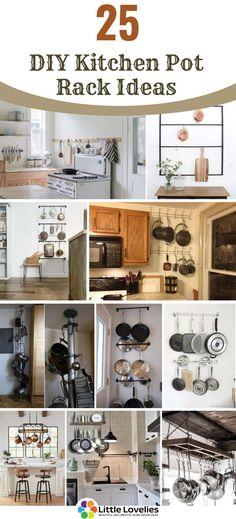 Diy Kitchen, Kitchen Design, Kitchen Ideas, Kitchen Racks, Kitchen Stuff, Hanging Pans, Pot Rack Hanging, Pan Storage, Storage Ideas