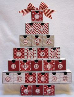 Advent calendar box drawer tree with Teresa Collins Christmas paper Advent Calendar Boxes, Advent Calander, Advent Box, Christmas Calendar, Christmas Countdown, Calendar Ideas, Diy Christmas Tree, Christmas Paper, Christmas Projects