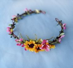 sunflower wedding circlet yellow flower hair von thehoneycomb