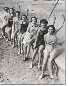 what the well dressed bathing girl will wear during 1937, Long Beach, California