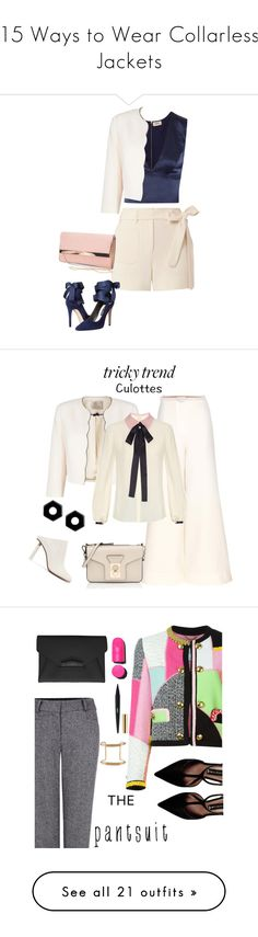 """""""15 Ways to Wear Collarless Jackets"""" by polyvore-editorial ❤ liked on Polyvore featuring waystowear, collarlessjackets, L'Agence, Helmut Lang, Jacques Vert, Alice + Olivia, New Look, Roksanda, Carven and Vetements"""