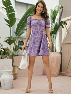 Elle mini dress – Lussoca Purple Pattern, Sweetheart Dress, Types Of Sleeves, Floral Prints, Boho, Mini, Casual, Dresses, Style