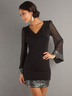 Short Sequin Neck Dress with Sheer Long Sleeves With Natural Waistline