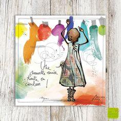 """""""Une année haute en couleur !"""" - Carte de voeux illustré par Myra Vienne - www.editionsdecortil.be Photo Illustration, Illustrations, Colored Pencil Techniques, Witch Art, Watercolor Cards, Cute Cards, Beautiful Paintings, Fun Projects, Diy Art"""