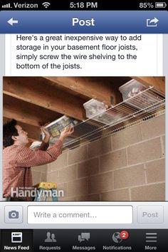Joist shelf space