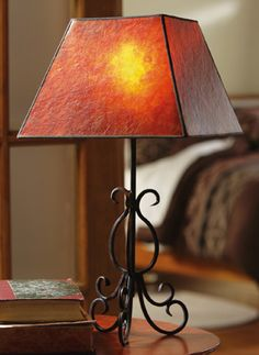 Southwest Table Lamp With Metal Base and Mica Shade