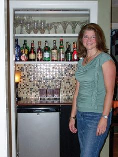closet bar with mini fridge & wine/liquor storage.put a lock on the door to ke. closet bar with Closet Bar, Men Closet, Liquor Bar, Wine And Liquor, Built In Bar Cabinet, Liquor Storage, Coat Closet Organization, Hangout Room, Basement Inspiration