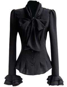 Black Bow Tie Dressy Top Blouse Stretch Lightweight Self-Tie