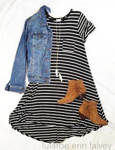 lularoe carly | denim jacket | booties | fall style | stripes