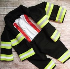 Firefighter Baby Boy Outfit with Jacket Black With RED Suspender  Simply Sweet and Sewn