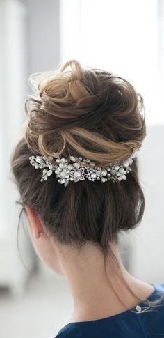 Bridal Headpiece Wedding Headpiece Bridal Head Piece Decorative Hair Adornment Large Decorative Bridal Hair Comb (chignon updo with comb) Romantic Wedding Hair, Hair Comb Wedding, Wedding Hair Pieces, Headpiece Wedding, Wedding Hair And Makeup, Wedding Hair Accessories, Bridal Headpieces, Wedding Updo, Bridal Comb