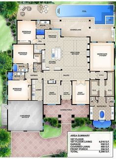 Building A House Ideas New Homes Master Suite Printer Projects New York Product Beach House Plans, Dream House Plans, Beach House Decor, House Floor Plans, Florida House Plans, 1 Story House, Beach Mansion, Home Design Floor Plans, Bedroom House Plans