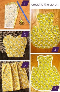 DIY Apron - easy sewing project - Darling Stuff not a mans shirt but love the pattern FOR my mens shirts aprons Easy Sewing Projects, Sewing Hacks, Sewing Tutorials, Sewing Crafts, Sewing Patterns, Begginer Sewing Projects, Sewing Ideas, Sewing Aprons, Sewing Clothes