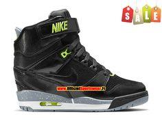 Nike Air Revolution Sky Hi GS - Chaussure Montante Nike Pas Cher Pour Femme Noir/Gris magnétique/Volt 599410-012