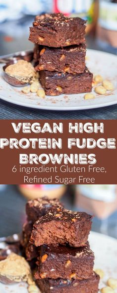 6 ingredient healthy high protein vegan fudge brownies make for the perfect guilt free dessert. Packed with 11 grams of protein per serving and both gluten-free and refined sugar free! Dessert couldnt get any better than this! | avocadopesto.com #ad