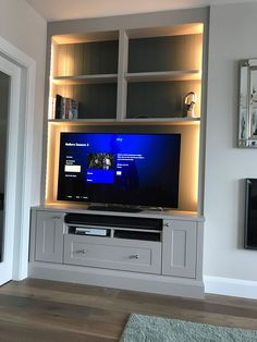 built-in corner cabinet designs Living Room Built In Units, Alcove Storage Living Room, Built In Tv Wall Unit, Built In Tv Cabinet, Alcove Shelving, Living Room Shelves, Tv Shelving Unit, Tv Built In, Alcove Cabinets