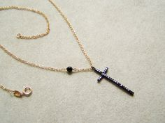 Thin Black Cross on Thin Pink Gold  Chain Black by Akatos on Etsy, $57.30