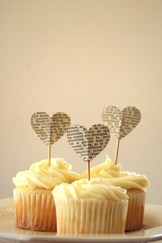 Vintage Book Page Heart Cupcake Picks by thePathLessTraveled, $3.72