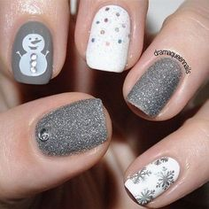 White and Silver Themed Christmas Nail Art. Plus