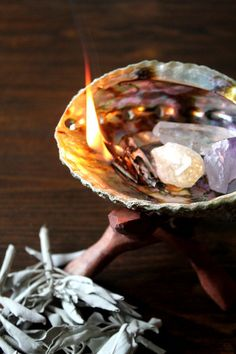 Abalone Shell, White Sage and Crystal Set | Stone & Violet / Sacred Spaces <3