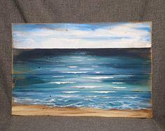 Palette Strand Malen, Palette Ozean Wandkunst, Beach Blues, Upcycled, handgemachte Seascape Horizont, Ozean, Distressed, schäbig