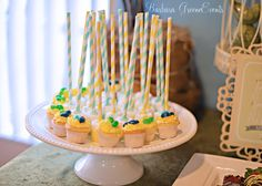Mini cupcakes with paper straws!  See more party ideas at CatchMyParty.com!