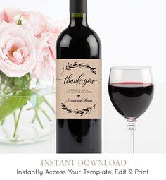 Wedding Wine Bottle Label Printable Wine Label Template 100%