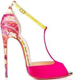 Christian Louboutin Spring 2015 | Pink yellow marble ankle strap open toe stiletto sandal