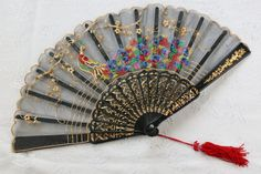 VINTAGE asian fans | Ladies Oriental Hand Stitched Vintage Peacock Fan by JannesVintage