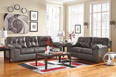 Alliston DuraBlend Gray Sofa, Loveseat, Birstrom Table Set & Geo Rug
